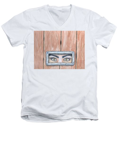 Men's V-Neck T-Shirt featuring the painting I See You by Edwin Alverio
