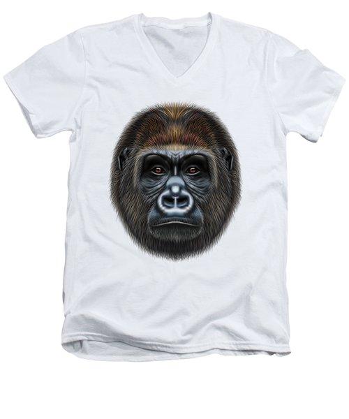Illustrated Portrait Of Gorilla Male. Men's V-Neck T-Shirt