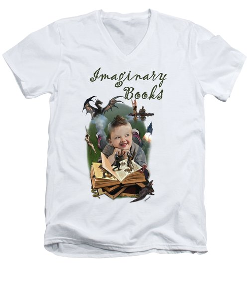 Imaginary Books Men's V-Neck T-Shirt by Joseph Juvenal