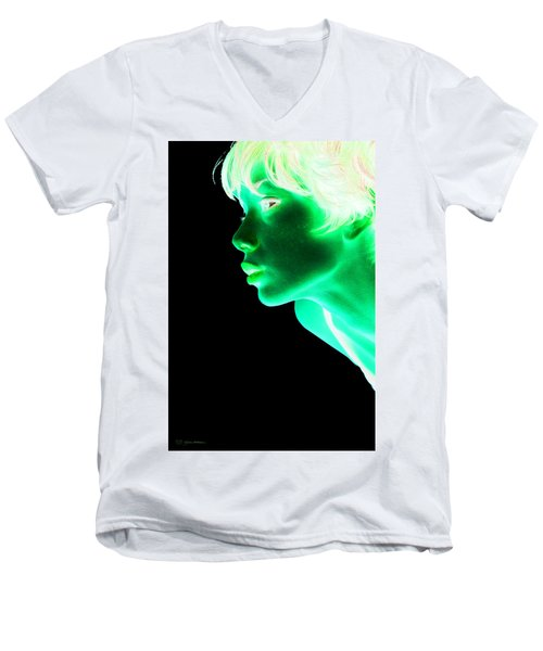 Inverted Realities - Green  Men's V-Neck T-Shirt by Serge Averbukh