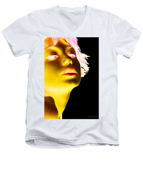 Inverted Realities - Yellow  Men's V-Neck T-Shirt by Serge Averbukh