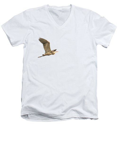 Men's V-Neck T-Shirt featuring the photograph Isolated Great Blue Heron 2015-5 by Thomas Young