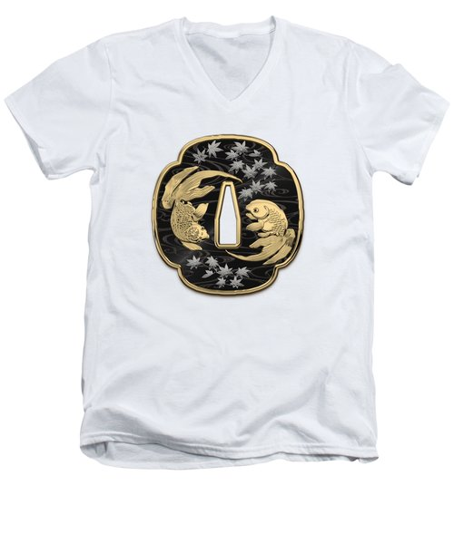 Japanese Katana Tsuba - Twin Gold Fish On Black Steel Over White Leather Men's V-Neck T-Shirt