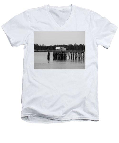 Jonesport, Maine Men's V-Neck T-Shirt by Trace Kittrell