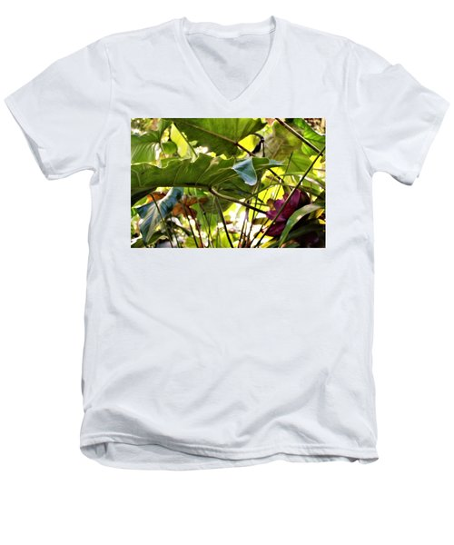 Men's V-Neck T-Shirt featuring the photograph Jungle Jive by Mindy Newman