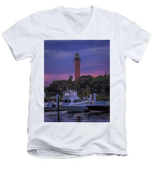 Jupiter Lighthouse Sunrise Men's V-Neck T-Shirt