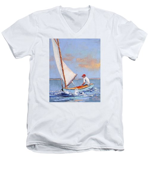 Just Play Men's V-Neck T-Shirt by Trina Teele