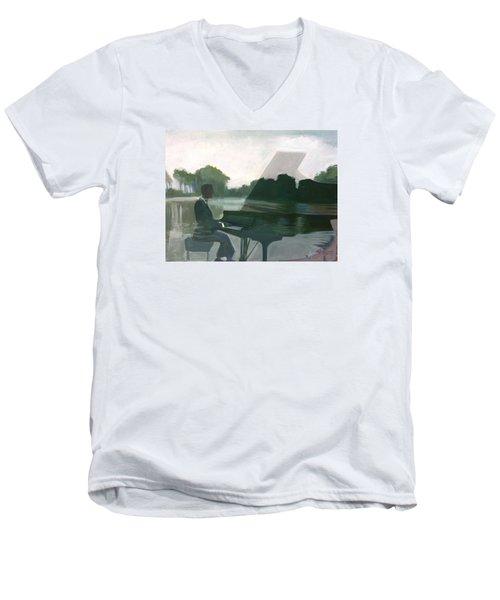 Justin Levitt Steinway Piano Spreckles Lake Men's V-Neck T-Shirt