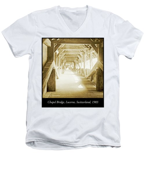 Kapell Bridge, Lucerne, Switzerland, 1903, Vintage, Photograph Men's V-Neck T-Shirt