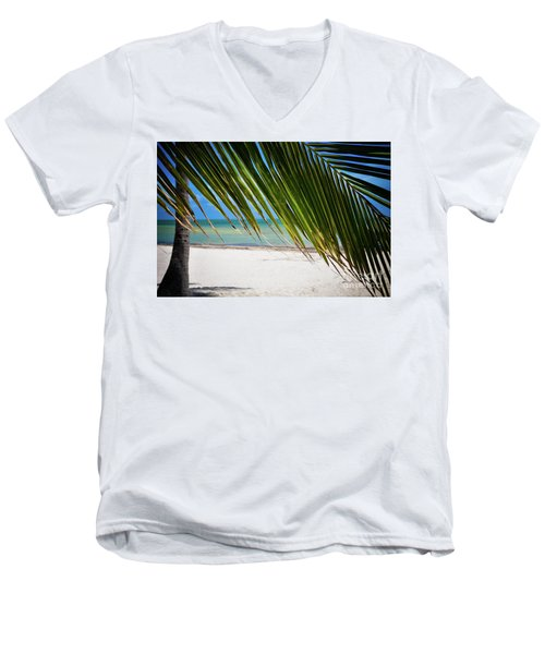 Men's V-Neck T-Shirt featuring the photograph Key West Palm by Kelly Wade