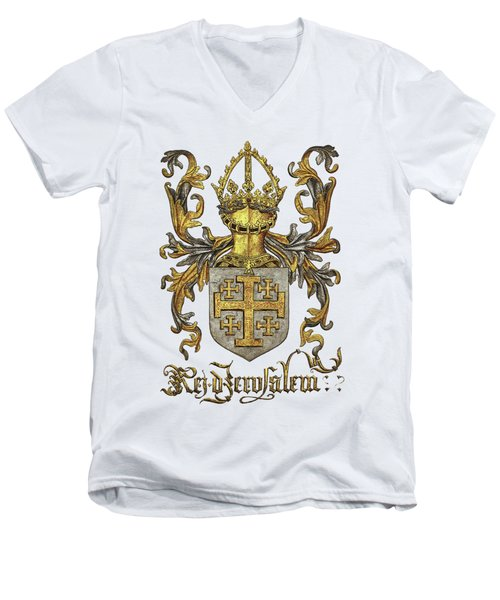 Kingdom Of Jerusalem Coat Of Arms - Livro Do Armeiro-mor Men's V-Neck T-Shirt by Serge Averbukh