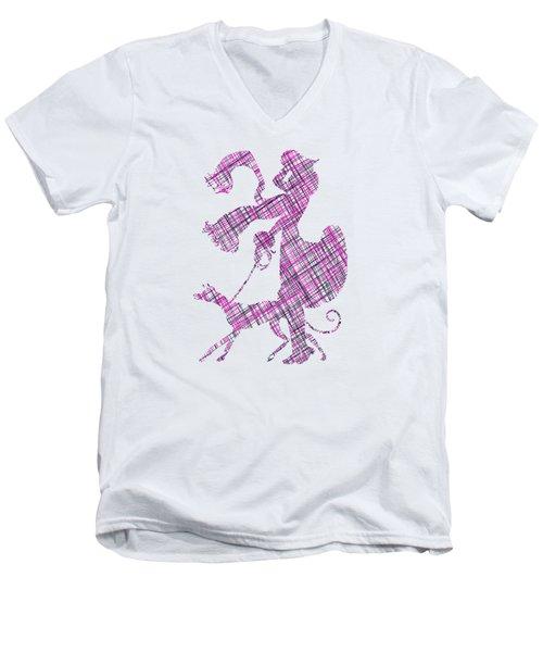 Lady Dog Walker Threads Transparent Background Men's V-Neck T-Shirt