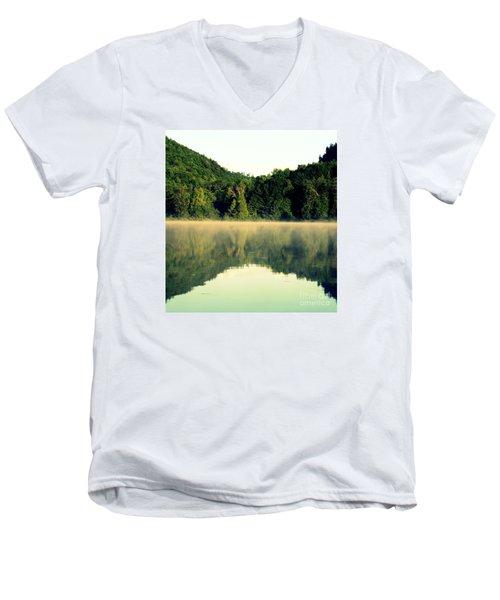 Lake Men's V-Neck T-Shirt by France Laliberte