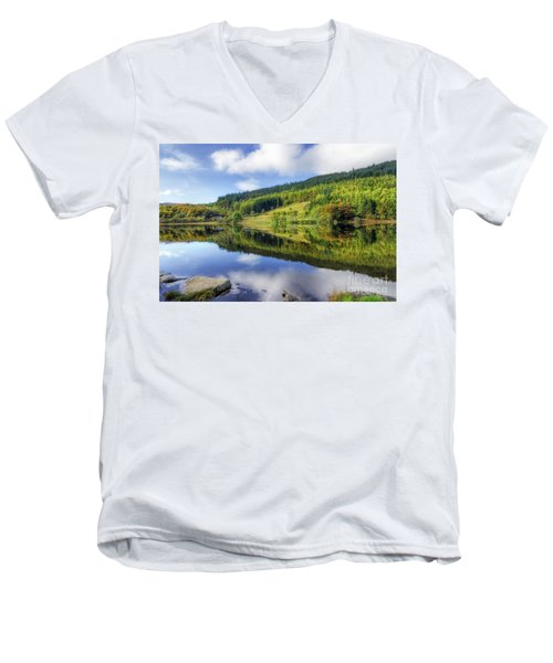 Lake Geirionydd Men's V-Neck T-Shirt by Ian Mitchell