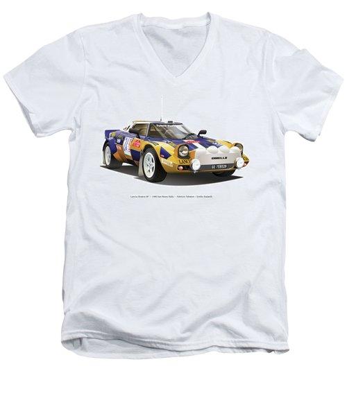 Lancia Stratos Hf Men's V-Neck T-Shirt by Alain Jamar