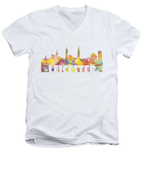 Leicester England Skyline Men's V-Neck T-Shirt