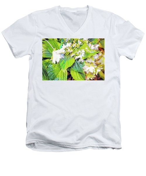 Men's V-Neck T-Shirt featuring the photograph Little Orchids by Mindy Newman