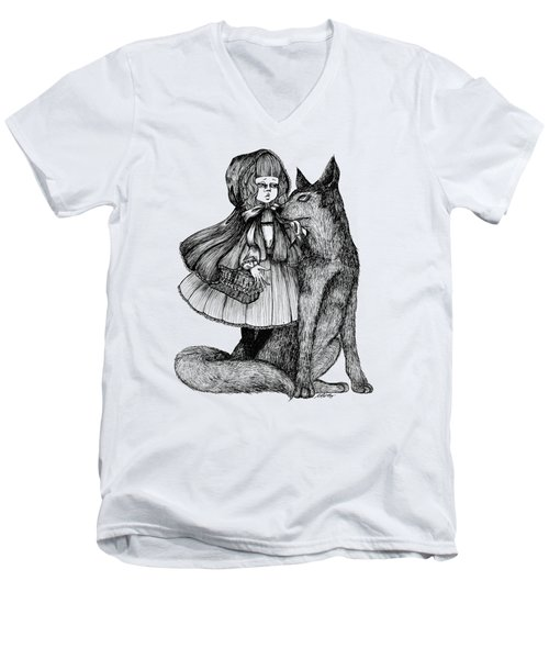 Little Red Riding Hood Men's V-Neck T-Shirt by Akiko Okabe