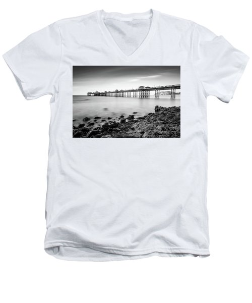 Men's V-Neck T-Shirt featuring the photograph Llandudno Pier by Adrian Evans