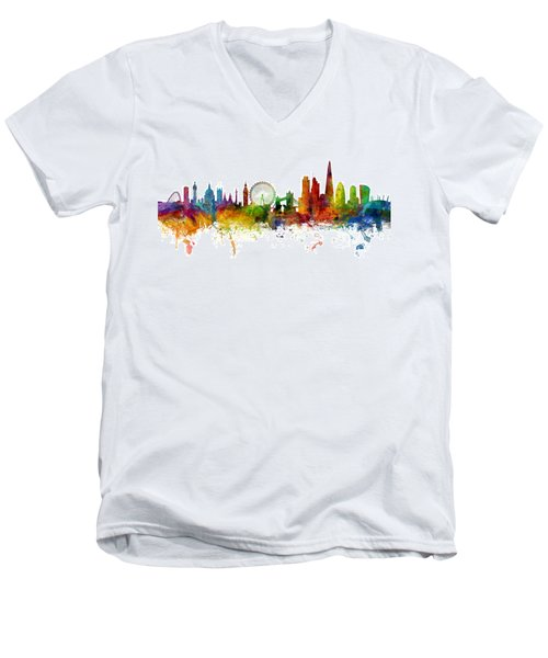 London England Skyline Panoramic Men's V-Neck T-Shirt