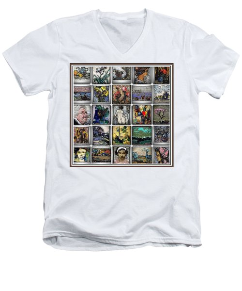 Men's V-Neck T-Shirt featuring the mixed media Panorama Digital Graphics 1 by Pemaro