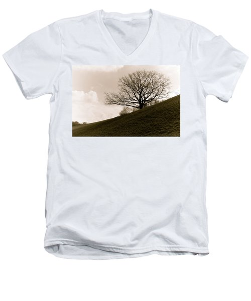 Men's V-Neck T-Shirt featuring the photograph Lonely Tree by Sergey Simanovsky