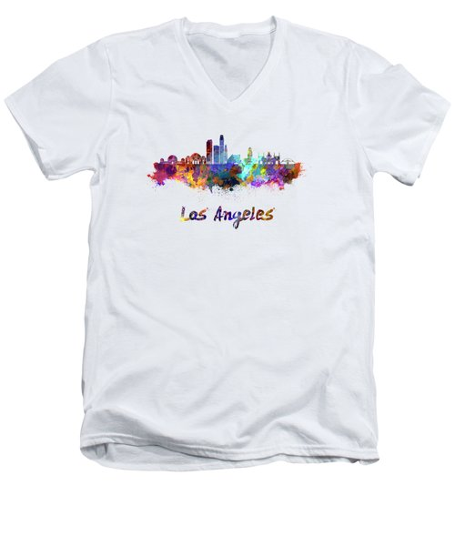 Los Angeles Skyline In Watercolor Men's V-Neck T-Shirt by Pablo Romero