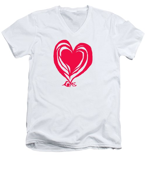 Love In Red Men's V-Neck T-Shirt by Mary Armstrong