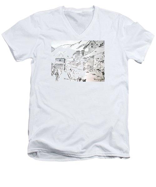 Machu Picchu Men's V-Neck T-Shirt by Marilyn Zalatan