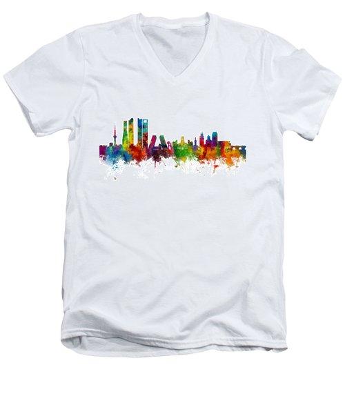 Madrid Spain Skyline Men's V-Neck T-Shirt by Michael Tompsett