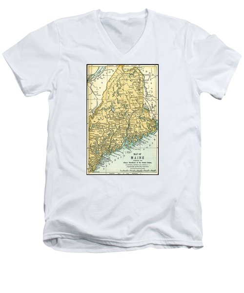 Maine Antique Map 1891 Men's V-Neck T-Shirt by Phil Cardamone