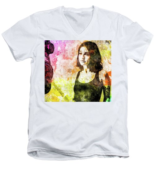 Men's V-Neck T-Shirt featuring the mixed media Maria Valverde by Svelby Art