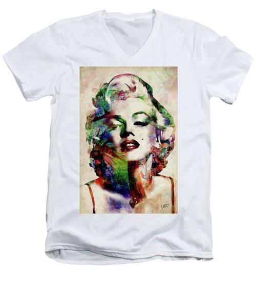 Marilyn Men's V-Neck T-Shirt by Michael Tompsett