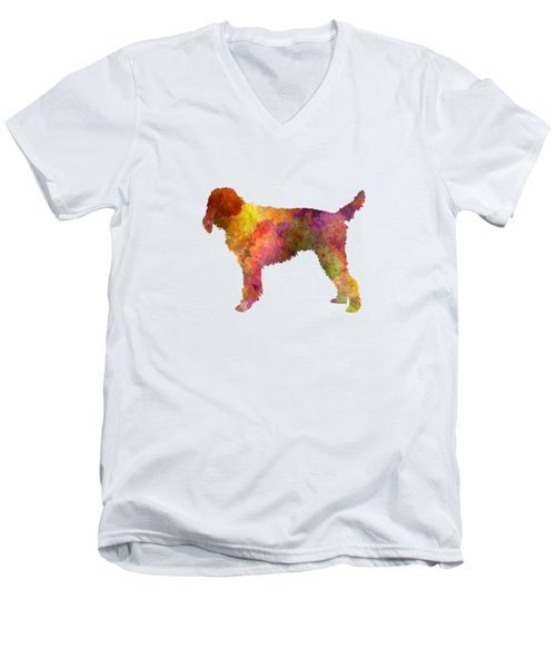 Medium Griffon Vendeen In Watercolor Men's V-Neck T-Shirt