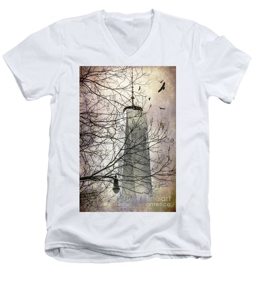 Men's V-Neck T-Shirt featuring the photograph Memorial by Judy Wolinsky