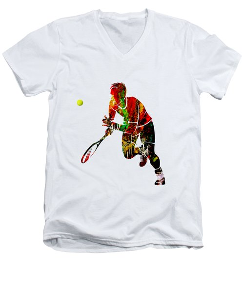 Mens Tennis Collection Men's V-Neck T-Shirt by Marvin Blaine