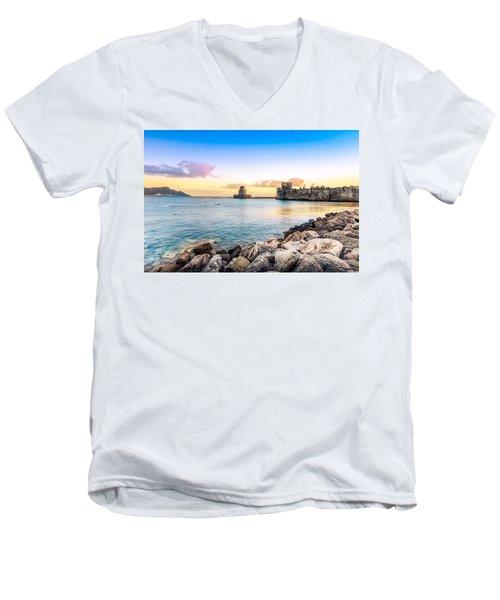 Methoni's Castle / Greece. Men's V-Neck T-Shirt by Stavros Argyropoulos