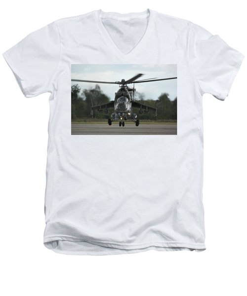 Men's V-Neck T-Shirt featuring the photograph Mil Mi-24v Hind E by Tim Beach