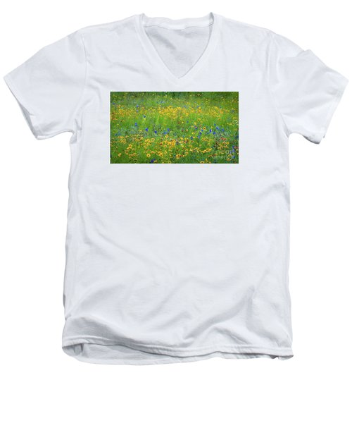 Mixed Wildflowers In Texas 538 Men's V-Neck T-Shirt
