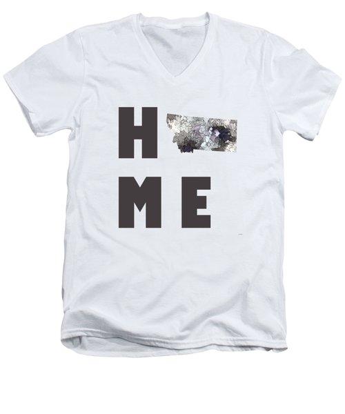 Men's V-Neck T-Shirt featuring the digital art Montana State Map by Marlene Watson