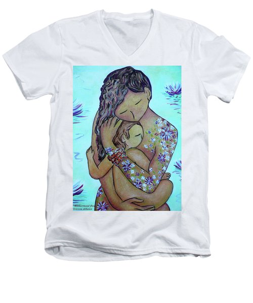 Motherhood Flowers All Over Men's V-Neck T-Shirt