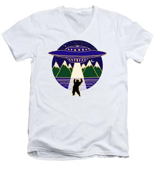 Mothership Takes Bear Men's V-Neck T-Shirt by Holly Douglas
