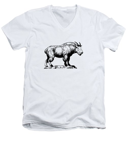 Mountain Goat Men's V-Neck T-Shirt by Mordax Furittus