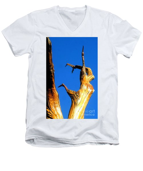 New Orleans Bird Tree Sculpture In Louisiana Men's V-Neck T-Shirt by Michael Hoard