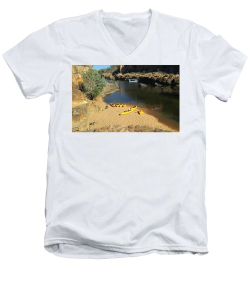 Men's V-Neck T-Shirt featuring the photograph Nitmiluk Gorge Kayaks by Tony Mathews