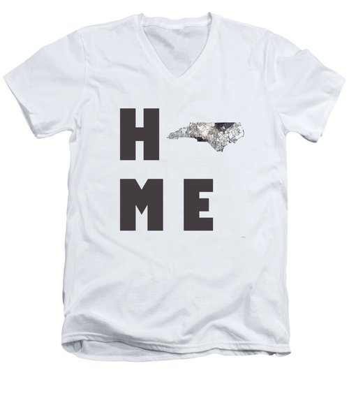 Men's V-Neck T-Shirt featuring the digital art North Carolina State Map by Marlene Watson