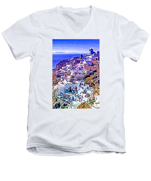 Oia Town On Santorini Men's V-Neck T-Shirt by Dennis Cox WorldViews