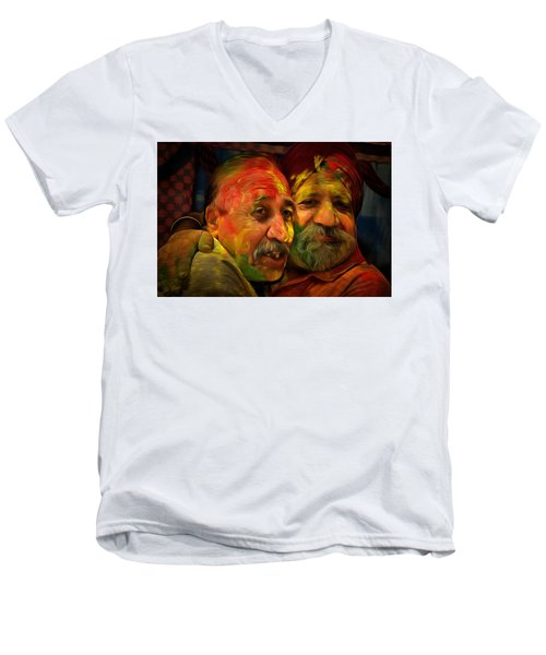 Men's V-Neck T-Shirt featuring the digital art Old Friends by Bliss Of Art