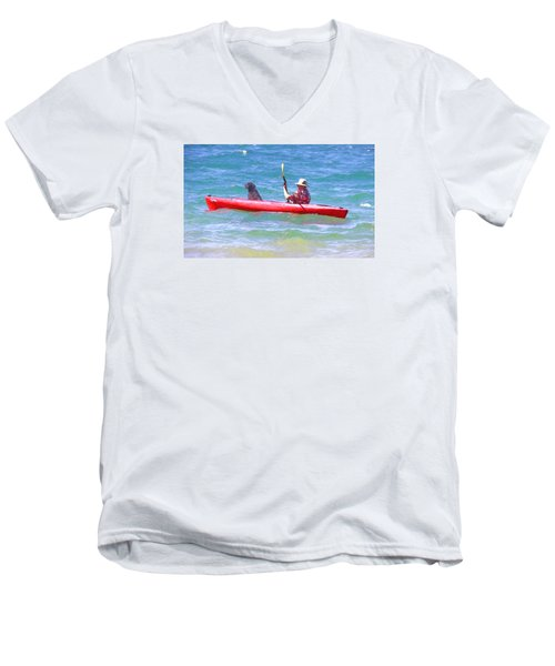Men's V-Neck T-Shirt featuring the photograph Out For A Ride by Susan Crossman Buscho