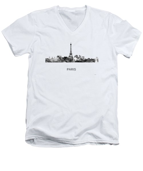 Paris France Skyline Men's V-Neck T-Shirt by Marlene Watson